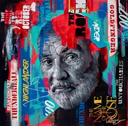 Sean Connery by Zinsky - Original Painting on Stretched Canvas sized 30x30 inches. Available from Whitewall Galleries
